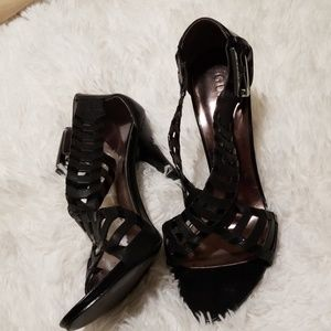 Black stiletto sandal sz 8 1/2